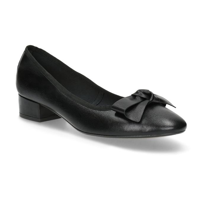 Čierne kožené baleríny s mašľou bata, čierna, 524-6420 - 13