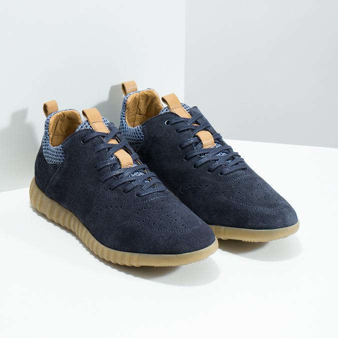 Modré pánske tenisky z brúsenej kože bata, 843-9634 - 26