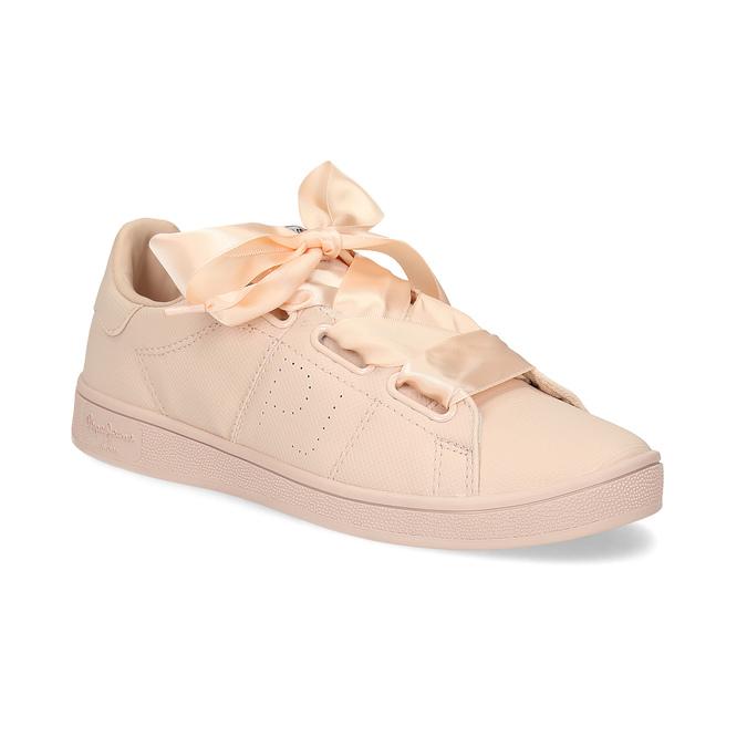 Ružové tenisky so saténovou mašľou pepe-jeans, ružová, 541-5076 - 13