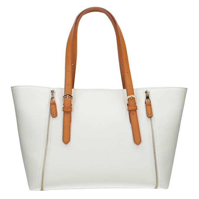 Krémová kabelka s ozdobnými zipsami bata, biela, 961-1840 - 26