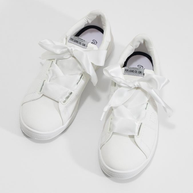 Biele tenisky so saténovou mašľou pepe-jeans, biela, 541-1076 - 16