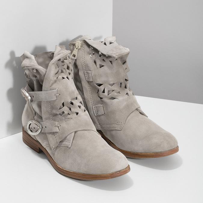 Kožené členkové čižmy s prestrihmi bata, šedá, 596-2689 - 26