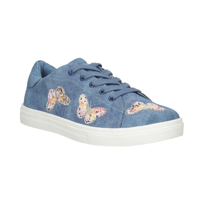 Modré dievčenské tenisky s motýlikmi mini-b, modrá, 321-9618 - 13