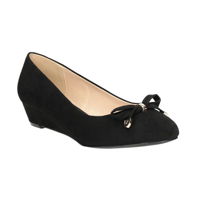 Lodičky na kline s mašľou bata, čierna, 629-6633 - 13