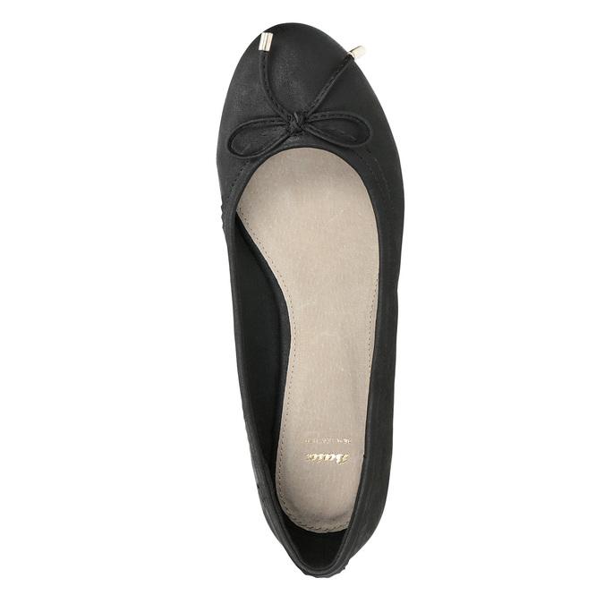 Čierne dámske baleríny s mašličkou bata, čierna, 521-6611 - 17