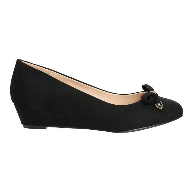Lodičky na kline s mašľou bata, čierna, 629-6633 - 16