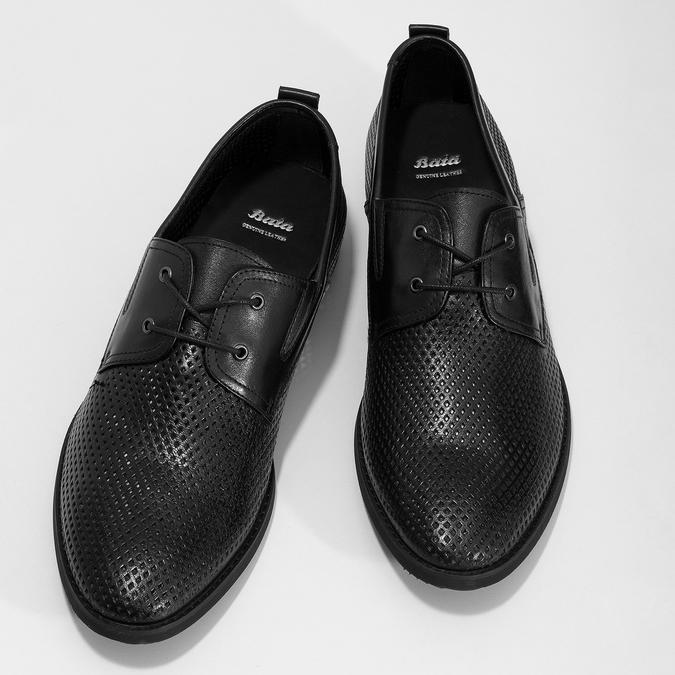 Kožené poltopánky s perforáciou bata, čierna, 854-6601 - 16