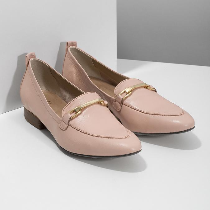Kožené ružové dámske mokasíny bata, 516-5619 - 26