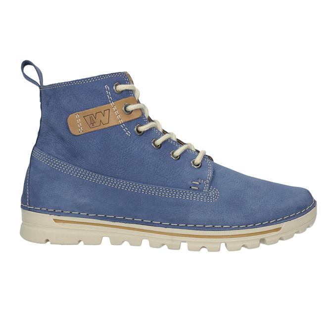 Dámska kožená členková obuv weinbrenner, modrá, 594-9666 - 16