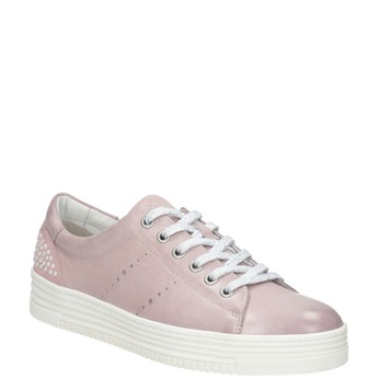 Kožené ružové tenisky s perličkami bata, ružová, 546-5606 - 13