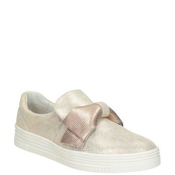 Kožená Slip-on obuv s mašľou bata, ružová, 536-5600 - 13