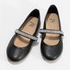 Čierne dievčenské kožené baleríny so štrasovým remienkom mini-b, čierna, 326-6601 - 16
