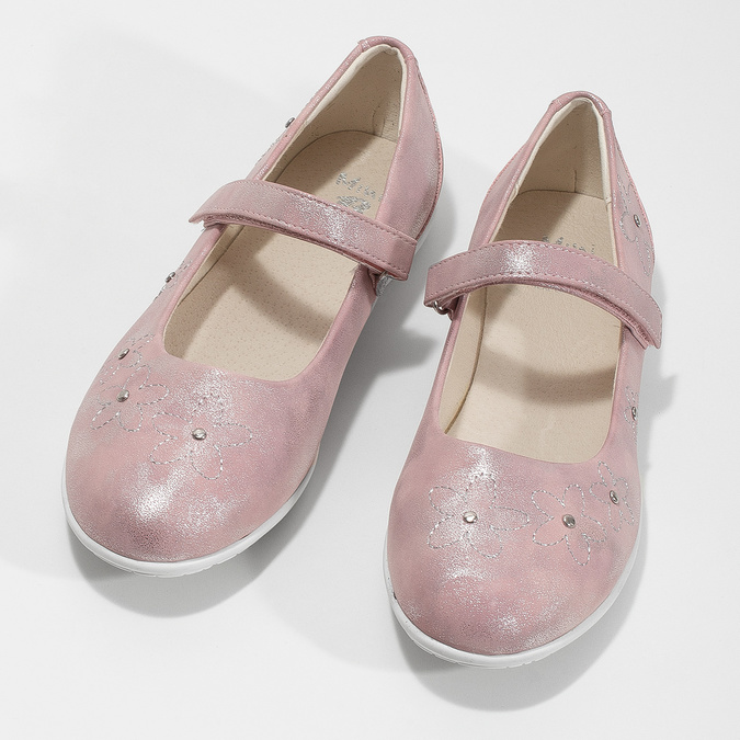 Dievčenské ružové baleríny s cvočkami mini-b, ružová, 321-5615 - 16