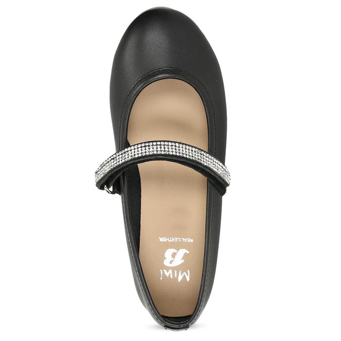 Čierne dievčenské kožené baleríny so štrasovým remienkom mini-b, čierna, 326-6601 - 17