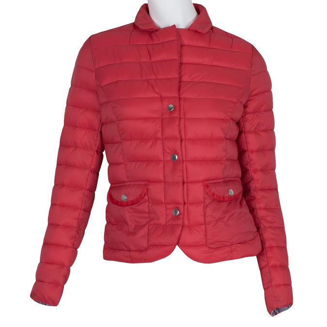 Červená prešívaná bunda s golierom bata, červená, 979-5182 - 13