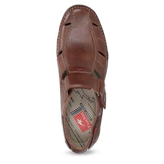 Kožené sandále na suchý zips fluchos, hnedá, 864-4605 - 17