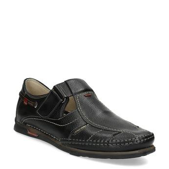 Kožené sandále s prešívaním fluchos, čierna, 864-6605 - 13
