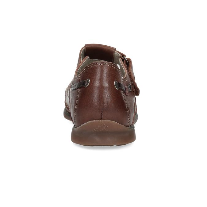 Kožené sandále na suchý zips fluchos, hnedá, 864-4605 - 15