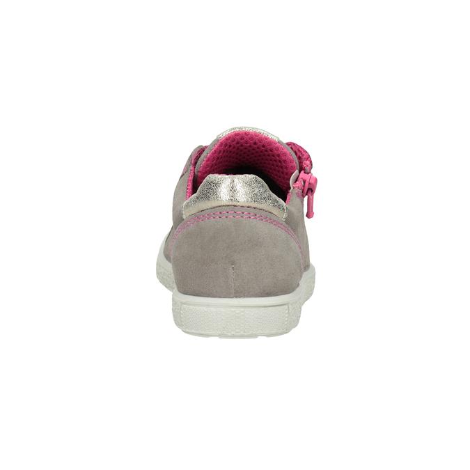 Kožené dievčenské tenisky s ružovými detailami mini-b, béžová, 323-5601 - 16