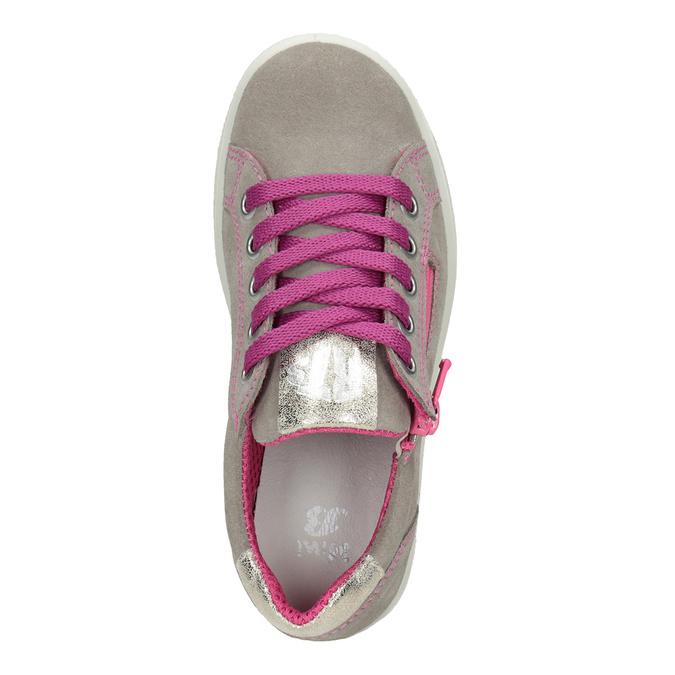 Kožené dievčenské tenisky s ružovými detailami mini-b, béžová, 323-5601 - 15