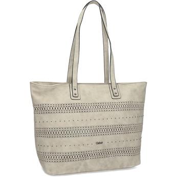Béžová shoper kabelka s perforovaným vzorom gabor-bags, béžová, 961-8442 - 13