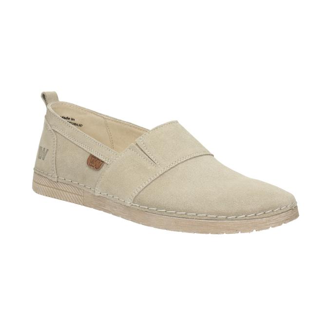 Kožená dámska Slip-on obuv weinbrenner, béžová, 536-8607 - 13