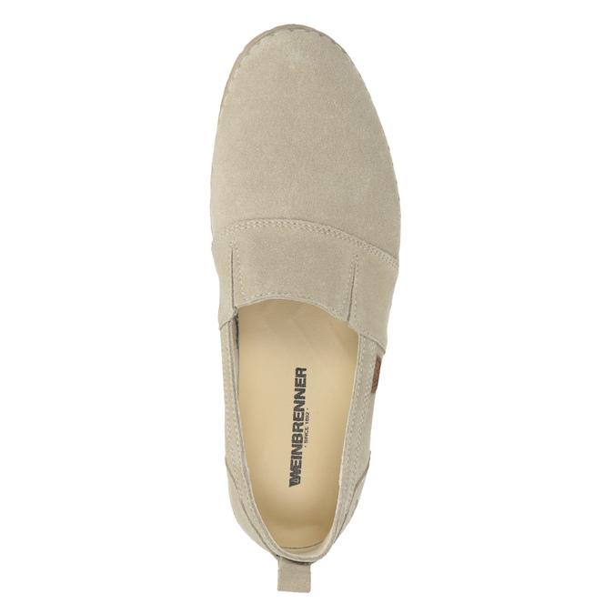 Kožená dámska Slip-on obuv weinbrenner, béžová, 536-8607 - 17
