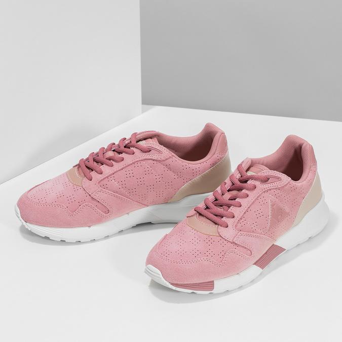 Ružové dámske tenisky z brúsenej kože le-coq-sportif, ružová, 503-5309 - 16