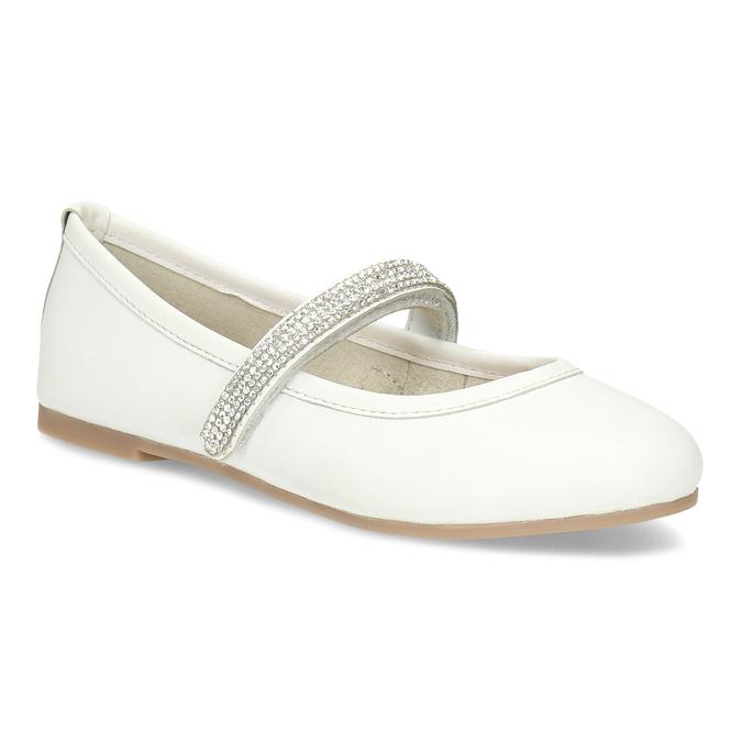 64c6aeeb54 Mini B Biele dievčenské kožené baleríny so štrasovým remienkom ...