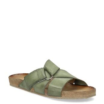 Khaki kožené nazuváky bata, 866-7647 - 13
