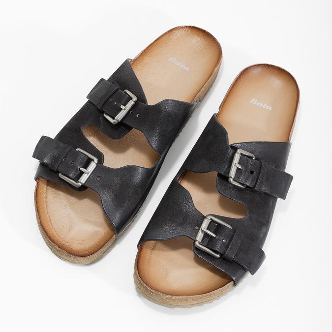 Pánske kožené nazuváky bata, čierna, 866-6648 - 16