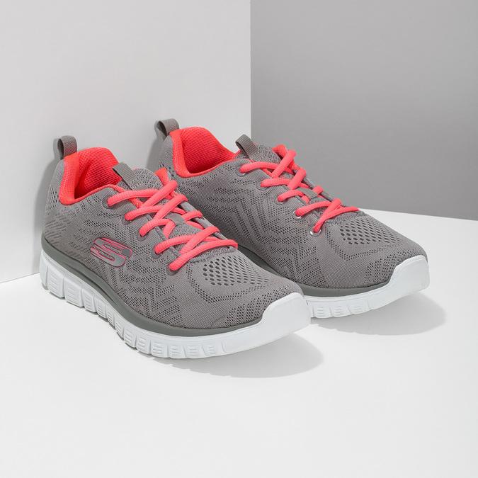 Dámske športové ružovo-šedé tenisky skechers, šedá, 509-2418 - 26