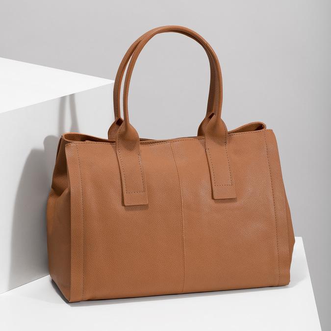 Svetlo hnedá kožená kabelka bata, hnedá, 964-3298 - 17