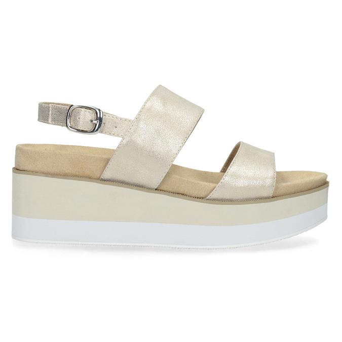 Béžové metalické sandále na flatforme bata, zlatá, 761-8632 - 19