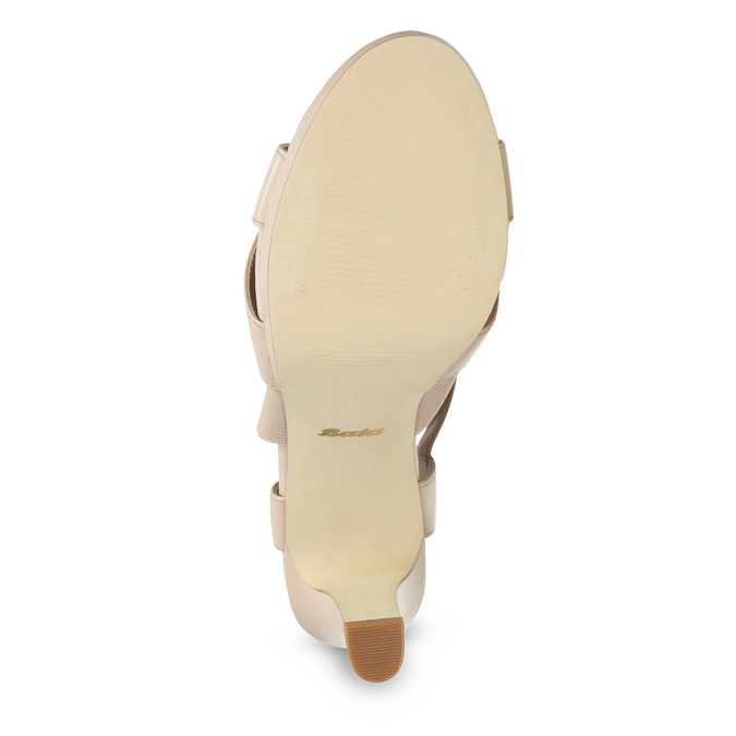 Béžové kožené sandále na stabilnom podpätku insolia, béžová, 766-8606 - 18