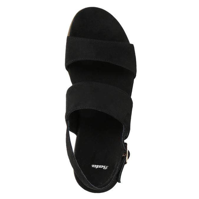 Čierno-biele sandále na flatforme bata, čierna, 769-6631 - 17