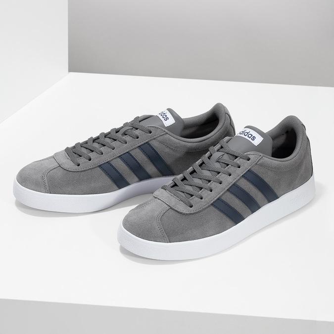 Pánske šedé tenisky z brúsenej kože adidas, šedá, 803-2379 - 16
