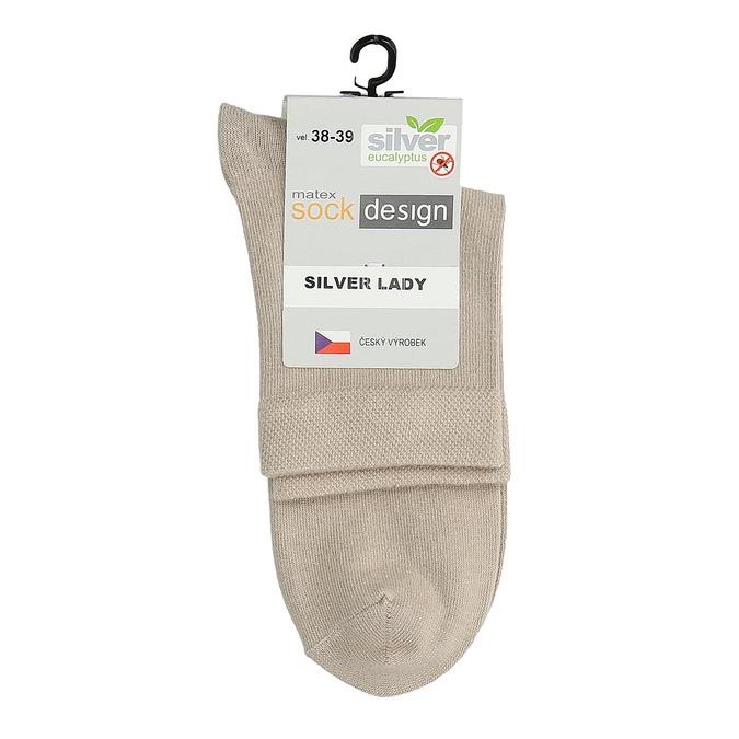 Vysoké dámske béžové ponožky matex, béžová, 919-8215 - 13