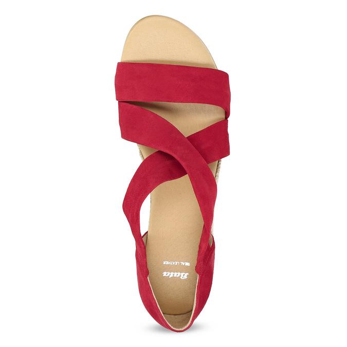 Červené kožené sandále na kline bata, červená, 563-5600 - 17