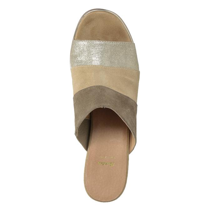 Kožené nazuváky na podpätku hnedé bata, hnedá, 666-4625 - 17