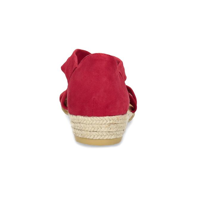 Červené kožené sandále na kline bata, červená, 563-5600 - 15