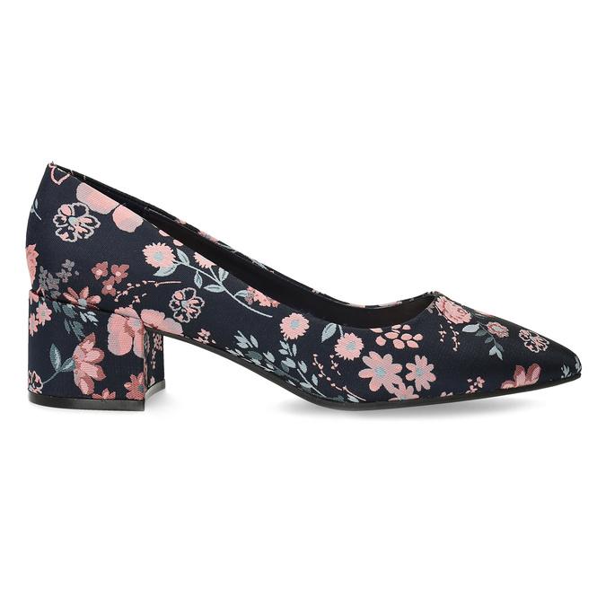 Kvetinové lodičky na nízkom podpätku bata-red-label, modrá, 629-5640 - 19