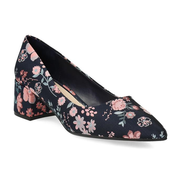 Kvetinové lodičky na nízkom podpätku bata-red-label, modrá, 629-5640 - 13