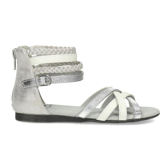 Bielo-strieborné dievčenské sandále mini-b, strieborná, 361-1605 - 19