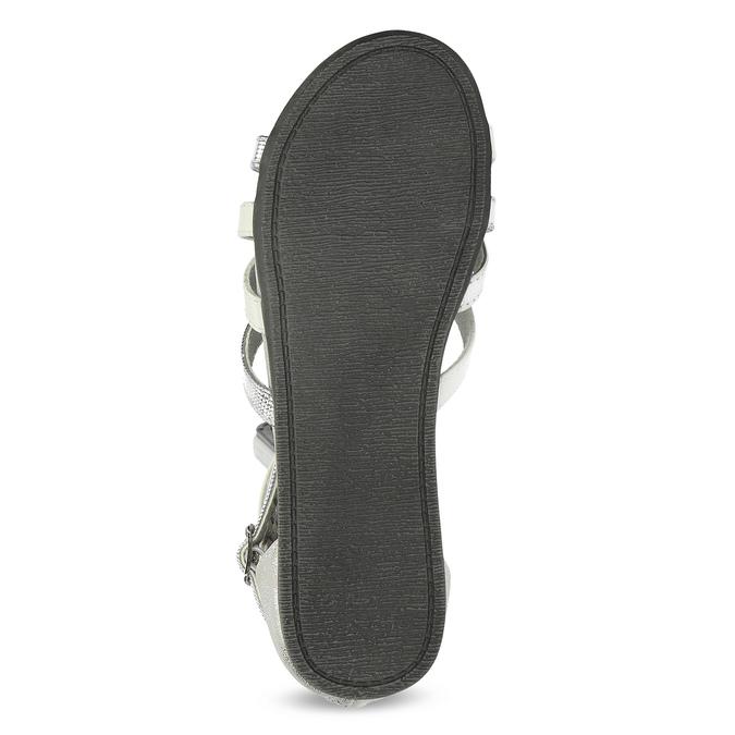 Bielo-strieborné dievčenské sandále mini-b, strieborná, 361-1605 - 18