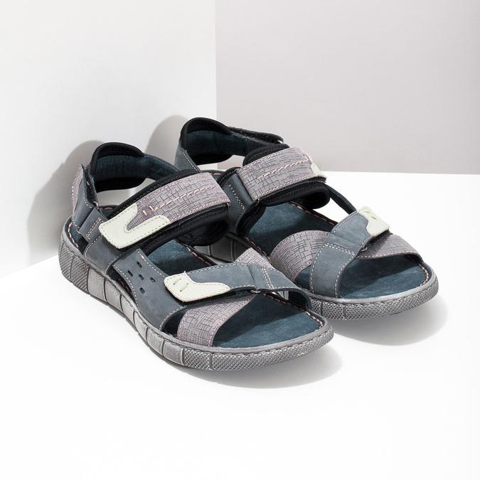 Modré kožené pánske sandále na suchý zips bata, šedá, 866-9640 - 26