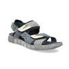 Modré kožené pánske sandále na suchý zips bata, šedá, 866-9640 - 13