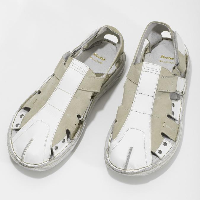Pánske svetlé kožené sandále bata, biela, 866-1622 - 16
