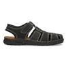 Pánske čierne kožené sandále s plnou špičkou bata, čierna, 866-6616 - 19