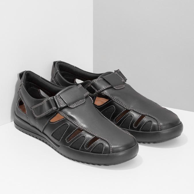 Pánske kožené sandále s prešitím comfit, čierna, 856-6605 - 26